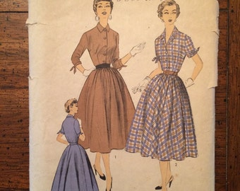 6791 1950's Women's Dress Vintage Sewing Pattern Advance 6791 Bust 30