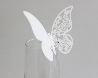 White Butterfly Laser Cut Place Card Glass Decor 10 or 20 / Wine Glass Decor / Wedding / Anniversary / Birthday / Shower