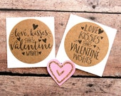 Love, Kisses and Valentine Wishes, Valentine Envelope Seals,  Love Stickers