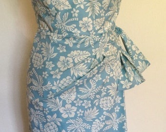 Vintage 1950s inspired blue and ivory Hawaiian sarong halter wiggle dress M only VLV rockabilly Viva