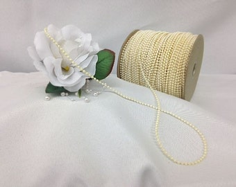 100 yard Roll of 3mm Vintage Ivory Iridescent Pearl Beads