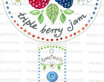 Circle jam label triple berry jam label printable mason jar sticker homemade fruit labels gift tags