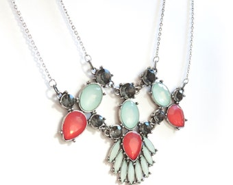 Double Chain Statement Necklace