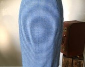 "1950's Blue Checkered Pencil Skirt / Pin Up 50s vintage wool skirt / Size Xs 24"" waist"
