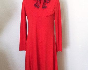 70s Dress/ 70s Mini Dress/ Burgundy Polk A Dot 70's Dolly Dress/ Size Medium M