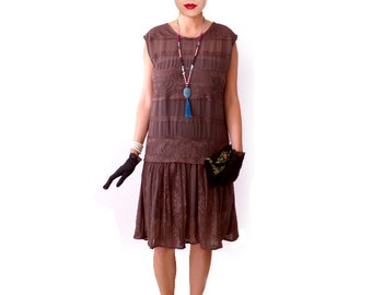 Retro Flapper Dress, Great Gatsby Dress, Flapper Costume, 1920s Dress, 20s Dress, Roaring 20s Dress,Downton Abbey, Lace Chiffon,Brown MABEL