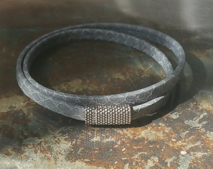 Leather Wrap Bracelet, Grey Leather Wrap Bracelet, Grey Wrap Bracelet, Wrap Bracelet, Grey Leather Bracelet, Leather Bracelet, Grey Wrap