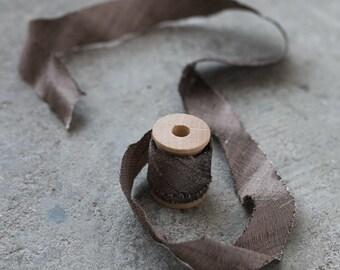 Silk Ribbon in Coffee. 100% Bias Cut Silk. For Wedding Bouquets, Invitations. 3 yards