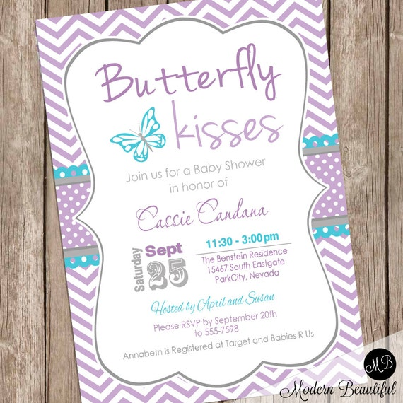 Butterfly Baby Shower Invites: Butterfly Kisses Baby Shower Invitation Lavender Butterfly