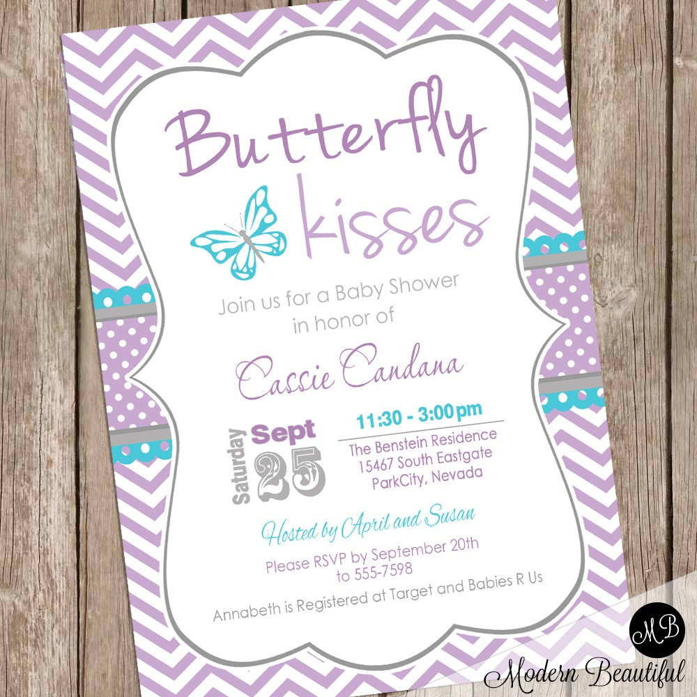 Butterfly Kisses Baby Shower Invitation Lavender Butterfly