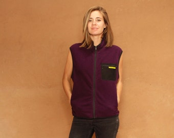 90s PATAGONIA style fleece vest PURPLE jacket zip up