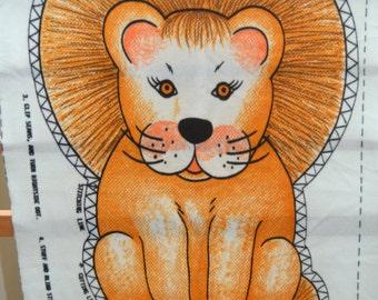 Orange Lion Fabric Pillow Sew and Stuff Pattern 1970's Lion Pillow
