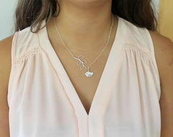Silver Bird Branch Lariat Necklace Pendant Sterling Silver Chain