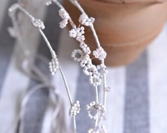 MISS Daisy - bridal flower and leaf swarovski crystal hair vine, simple Ivory wedding crown. style 218. Ready to ship