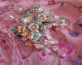 Ornate Pastel Floral Miriam Haskell Style Collage Chandelier Earrings, OOAK, Antique Victorian Bridal, Fantasy Shabby-Chic Roses & Crystals