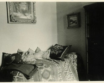 "Vintage Photo ""Pillow Corner"" Living Room Decor Snapshot Photo Old Antique Black & White Photograph Found Paper Ephemera Vernacular - 156"