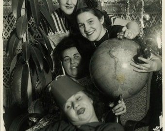 "Vintage Photo ""The Traveling Girls"" World Globe Snapshot Old Antique Photo Black & White Photograph Found Paper Ephemera Vernacular - 137"