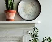 Modern ceramic wall art, large black plate, abstract  pattern ceramics, large ceramic plaque, clay wall hanging, decorative ceramics,