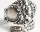 Hibiscus Ring, Vintage Spoon Ring, Hibiscus Flower Blossoms Ring, Sterling Silver Spoon Ring, Handmade Jewelry, Adjustable Ring Size (6139)