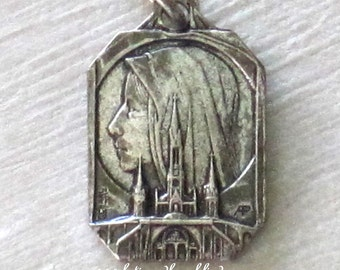 Antique French Silverplate Pendant Medal of the Virgin & The Grotto at Lourdes Signed Adolphe Penin and C. Charl C1920
