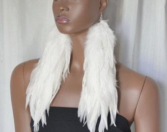 Long White Feather Earrings, Real Feather Earrings, Boho Jewelry, Bohemian Earrings