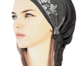 Gray Head Scarf Pre tied Bandana Hair Snoods Tichel Chemo Head Scarf: Soft cotton wide fancy floral lace clear rose buttons ShariRose - 341