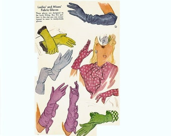 1940s Ladies Gloves Pattern, Size Large 7, Evening Gloves Pattern, McCall 1188, Elbow or Wrist Length, Vintage Sewing Pattern