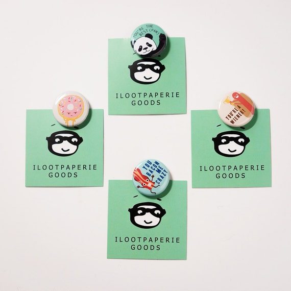 Ilootpaperie Set of 4 Pinback Buttons - Mix and Match, Grumpy Donut, Panda, Wiener, Bacon