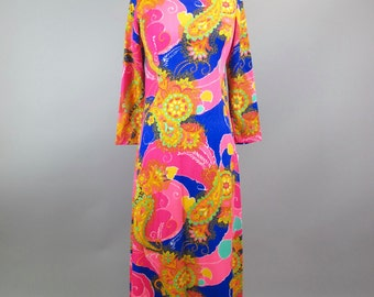 1970s Bold Pattern Psychadelic Maxi Dress