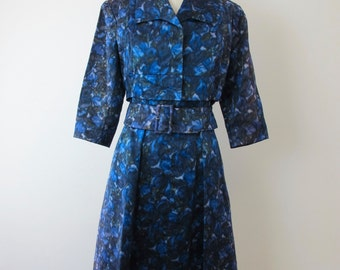1960s Silk Anne Lise Madrid Cocktail Dress and Jacket