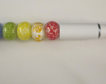 Rainbow, Lampwork, Beaded, Ballpoint Pen, Artisan Crafted, One of a Kind, SRAJD, Hand Crafted Glass