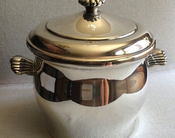 Vintage Ice Bucket Silverplate  - Insulated Line w/ Lid  Scalloped Handles Rodgers