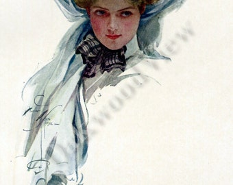 Youth by Harrison Fisher, Beautiful Blond Woman in Big Hat, Antique 1908 Edwardian 7x10 Color Bookplate Art Portrait Print, FREE SHIPPING