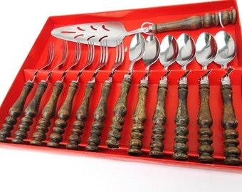 Vintage Wood Handle Flatware, Pie Server, Dessert Flatware, Dessert Forks, Dessert Spoons