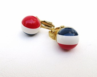 Vintage Red White Blue Jewelry, Americana Jewelry, Clip On Earrings, Patriotic Jewelry, Beaded Earrings