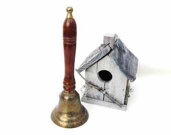 Vintage Brass bell, School Bell, Metal Dinner Bell, Hand Bell with Wood Handle