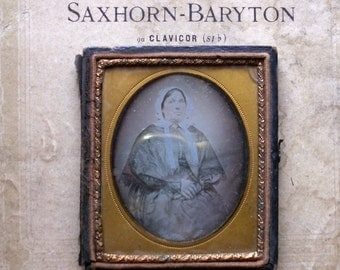 Antique Framed Ambrotype Tin Type Photograph of Lady in Cape and Bonnet in Leather Backing Case - Great Halloween Decor