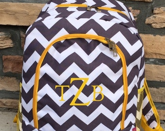 Gray and White Chevron with Yellow  Personalized Backpack