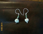 Genuine Seafoam Pearl Dangle Earrings