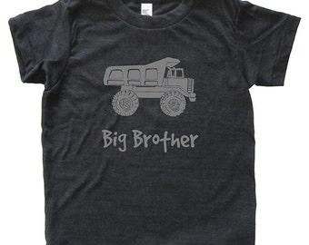 Dump Truck Big Brother Tshirt - Kids Construction Shirt - Tee - Youth Boy Shirt / Super Soft Kids Tee Sizes 2T 4T 6 8 10 12 - Triblend Gray