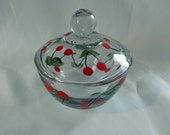 Red Cherries glass sugar bowl with lid