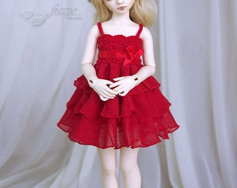 LAST ONE Red ruffle dress for TINY bjd LittleFee Momocolor 29, Saintbloom