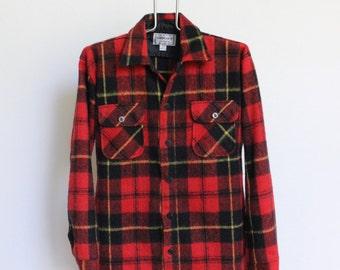 Vintage Plaid Flannel Shirt // Mens Large Red Plaid Shirt // Oshmans Shirt