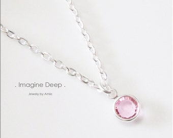 40% off SPECIAL Light Pink Crystal Necklace 16 17 18 inch Silver Plated Soft Baby Pink Tourmaline -like Swarovski Crystal Necklace