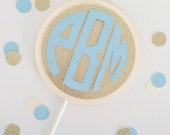 Monogram Cake Topper // Gold Glitter, Cream and Custom Color