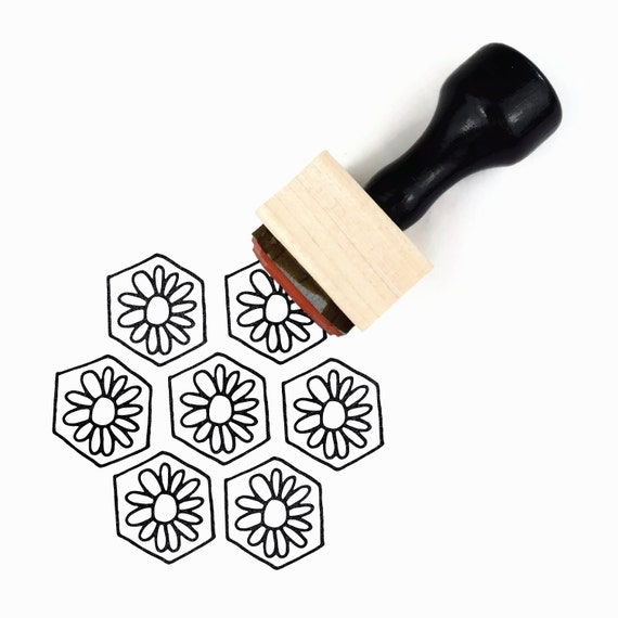 Rubber Stamp Flower Hexagon Pattern - DIY Hand Drawn Flower Patterns - Wood Mounted Stamp with Handle