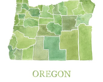 Map Oregon Counties watercolor map
