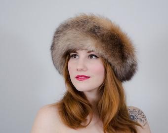 1960s vintage hat / crystal fox fur hat / fur cloche