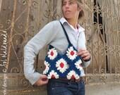 Crochet Bag Floral Granny Square PDF - Gerbera flower purse - Instant Download