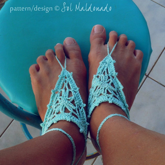 Barefoot Crochet Sandals Pattern PDF - easy crochet nude shoes sandles - Instant DOWNLOAD